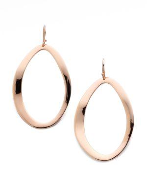 Rosé Carino Open Wavy Oval Drop Earrings