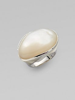IPPOLITA - Mother of Pearl Cabochon, Diamond & Sterling Silver Ring