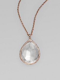 IPPOLITA - Rose Large Teardrop Clear Quartz Pendant Necklace