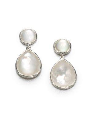 Wonderland Mother-Of-Pearl, Clear Quartz & Sterling Silver Snowman Doublet Drop Earrings