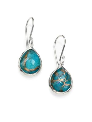 Bronze Turquoise, Clear Quartz & Sterling Silver Earrings