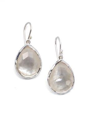 Wonderland Mother-Of-Pearl, Clear Quartz & Sterling Silver Mini Doublet Teardrop Earrings