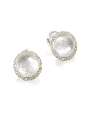 Stella Mother-Of-Pearl, Clear Quartz, Diamond & Sterling Silver Doublet Stud Earrings
