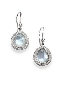 IPPOLITA - Swiss Blue Topaz Doublet, Diamond & Sterling Silver Drop Earrings