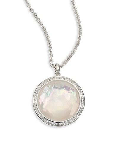 Stella Mother-Of-Pearl Clear Quartz Diamond & Sterling Silver Large Lollipop Doublet Pendant Necklac