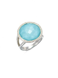 IPPOLITA - Large Turquoise Doublet & Diamond Ring