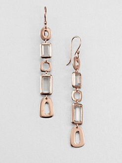 IPPOLITA - Rose Link & Clear Quartz Linear Drop Earrings