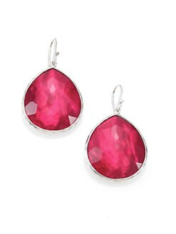 IPPOLITA - Gemstone Doublet & Sterling Silver Large Teardrop Earrings/Raspberry