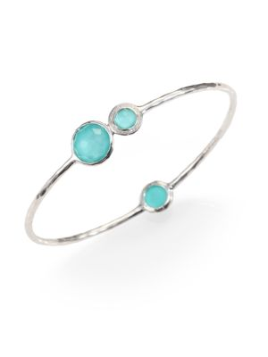 Stella Turquoise, Mother-Of-Pearl, Diamond & Sterling Silver Doublet Station Bangle Bracelet