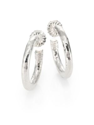 Classico Small Sterling Silver Hammered Hoop Earrings
