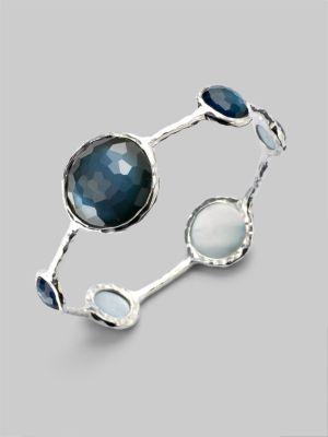Wonderland Indigo Mother-of-Pearl, Clear Quartz & Sterling Silver Lollipop Doublet Bangle Bracelet