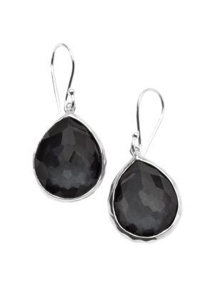 Wonderland Hematite, Clear Quartz & Sterling Silver Mini Doublet Teardrop Earrings
