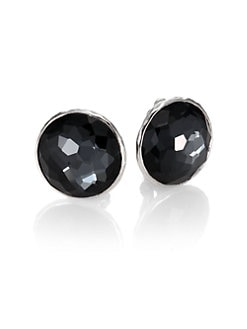 IPPOLITA - Clear Quartz, Hematite and Sterling Silver Button Earrings