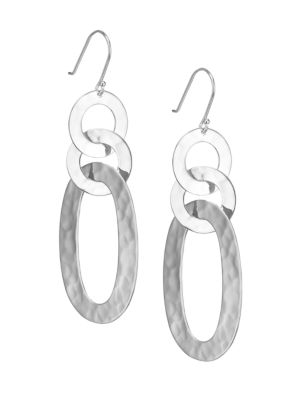 Classico Sterling Silver Hammered Roma Link Mixed-Shape Drop Earrings
