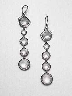 IPPOLITA - Clear Quartz & Diamond Long Drop Blackened Sterling Silver Earrings