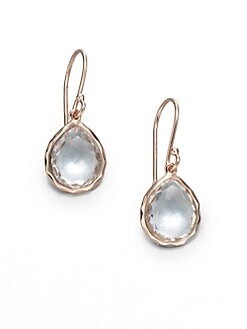 IPPOLITA - Rose Mini Teardrop Clear Quartz Earrings