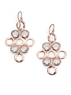IPPOLITA - Clear Quartz Rosé Chandelier Earrings