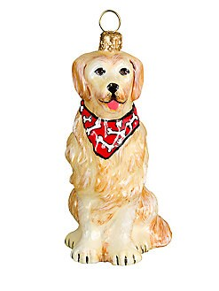 Joy To The World Bandana Golden Retriever Christmas Ornament