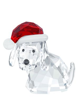 Dog with Santa's Hat Crystal Ornament