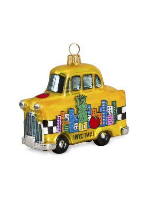 Pop Art Taxi Glass Ornament