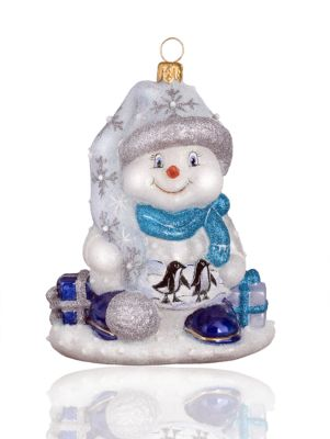 Penguin Family Snowman Glass Ornament