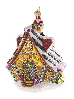 MacKenzie-Childs - Gingerbread House Glass Ornament