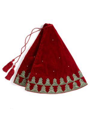 Velvet Beaded Christmas Tree Skirt