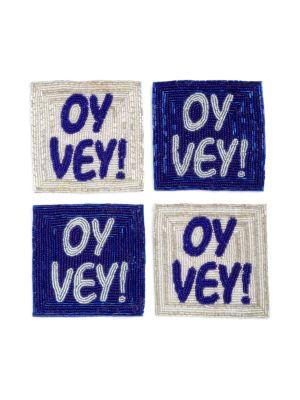 Oy Vey Beaded Coasters/ Set of 4