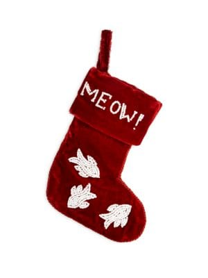 Embroidered Velvet Cat Stocking
