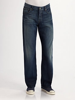 7 For All Mankind - Veludo Oscuro Straight-Leg Jeans