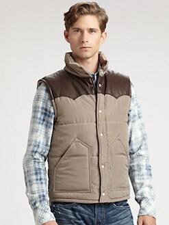True Religion - Nylon/Leather Puffer Vest