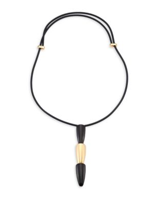 VHERNIER Calla 18K Pink Gold & Ebony Tiered Pendant Necklace