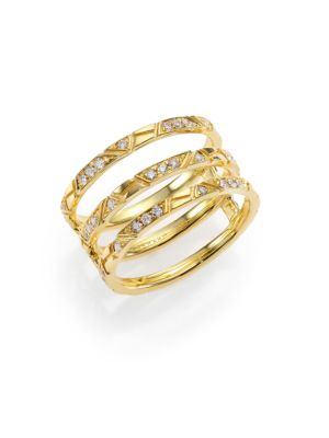 Bar Diamond & 18K Yellow Gold Engraved Lines Three-Row Ring