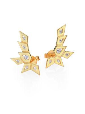 RON HAMI Rain Diamond & 18K Yellow Gold Medium Spike Ear Cuffs