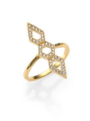 RON HAMI Orighami Pavé Diamond & 18K Yellow Gold Three-Shape Totem Ring