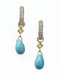 Jude Frances - Turquoise, Diamond & 18K Yellow Gold Earring Charms