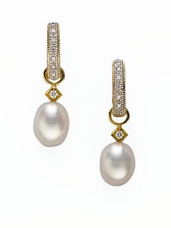 Jude Frances - White Freshwater Pearl, Diamond & 18K Yellow Gold Earring Charms