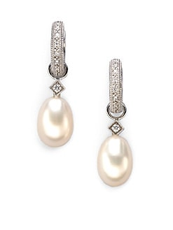 Jude Frances - White Freshwater Pearl, Diamond & 18K White Gold Earring Charms