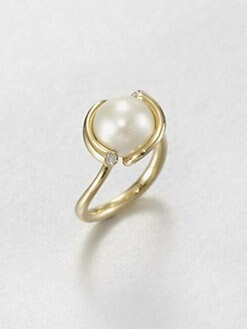 Georg Jensen - White Freshwater Pearl, Diamond and 18K Yellow Gold Ring