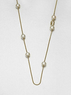 Georg Jensen - White Freshwater Pearl, Diamond and 18K Yellow Gold Necklace