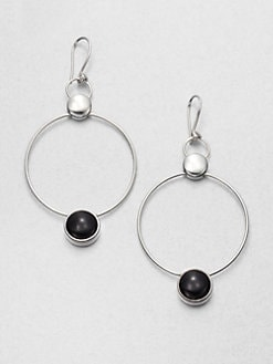 Georg Jensen - Black Agate Hoop Drop Earrings