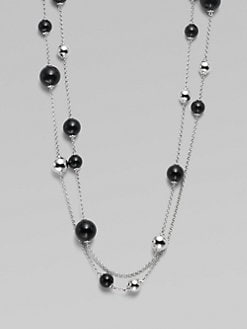 Georg Jensen - Sphere Long Black Agate & Sterling Silver Station Necklace