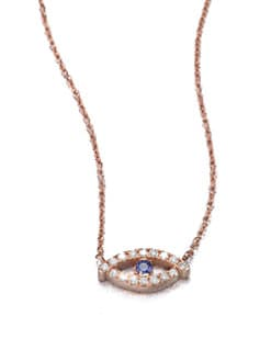 Diane Kordas - Diamond & Sapphire Evil Eye Necklace