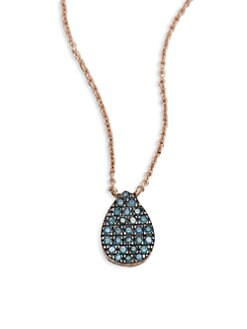 Diane Kordas - Blue Diamond Teardrop Necklace