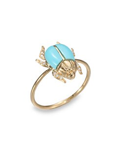 Diane Kordas - Diamond & Turquoise Beetle Ring