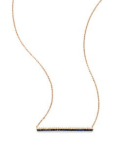 Diane Kordas - Diamond & Sapphire Encrusted 18K Rose Gold Bar Pendant Necklace