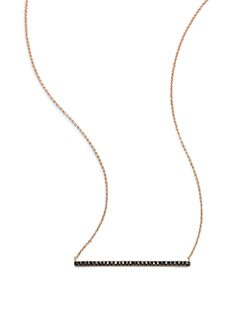 Diane Kordas - Black Diamond Embellished 18K Rose Gold Bar Pendant Necklace