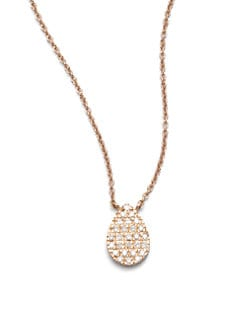 Diane Kordas - Diamond Accented 18K Rose Gold Teardrop Pendant Necklace