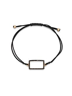 Diane Kordas - Black Diamond Embellished 18K Rose Gold Rectangular Bracelet