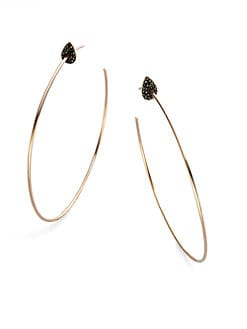 Diane Kordas - Black Diamond Accented 18K Rose Gold Hoop Earrings